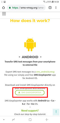 Transfiera mensajes de texto SMS desde Android con SMS EasyExporter for Android